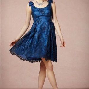 Blue party dress with lace overlay